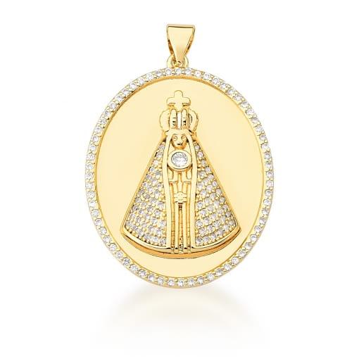 Pingente Oval com Nossa Senhora Aparecida Banhado a Ouro