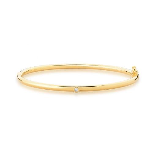 Bracelete Liso com Ponto de Luz Banhado a Ouro