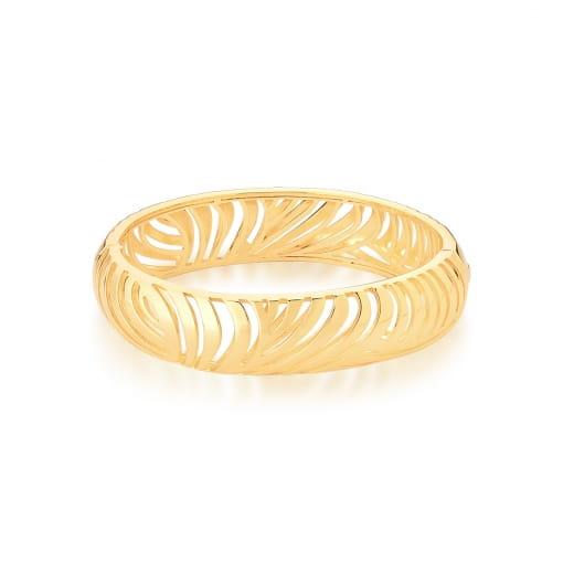 Bracelete Oval Vazado e Liso Banhado a Ouro