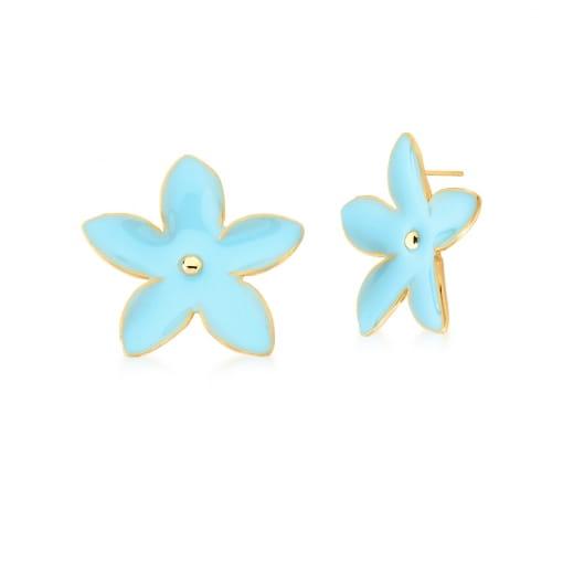 Brinco de Flor Esmaltado na Cor Azul Claro Banhado a Ouro