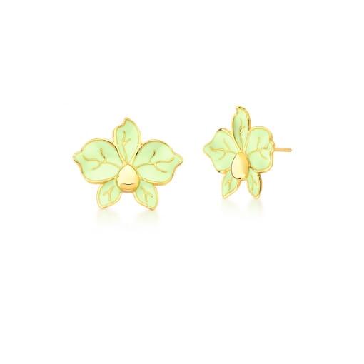Brinco Flor Esmaltado na Cor Verde Banhado a Ouro