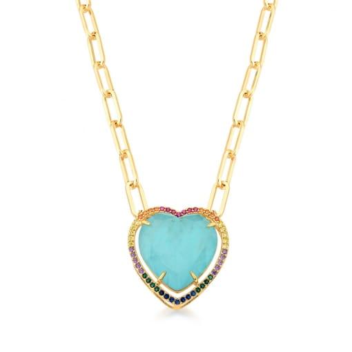 Colar com Pingente Cristal Coração Turmalina Banhado a Ouro