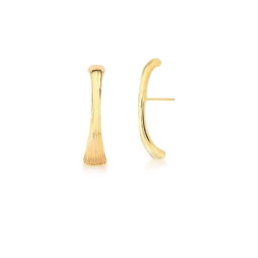 Brinco Ear Hook Trabalhado e Liso Banhado a Ouro