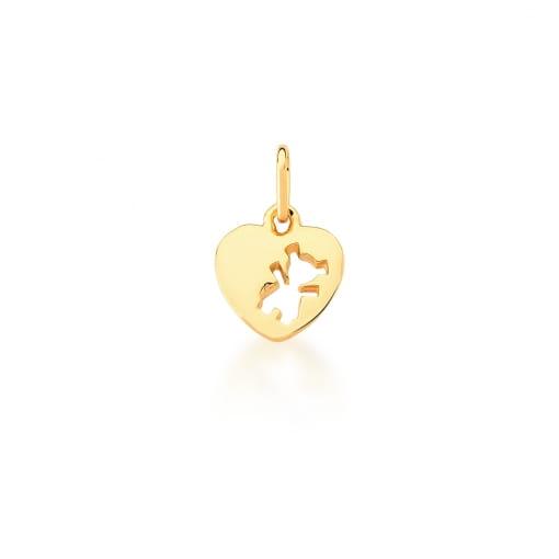 Pingente de Coração Liso Vazado com Menina Banhado a Ouro