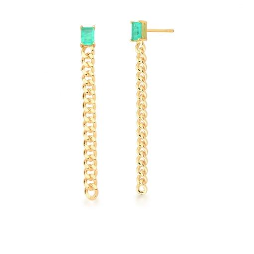 Brinco Pêndulo com Cristal Retangular Turmalina Banhado a Ouro