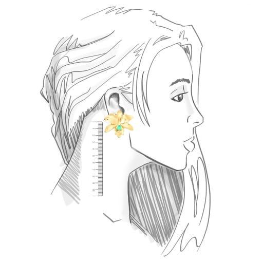 Brinco Flor Lisa com Cristal em Gota Turmalina Banhada a Ouro