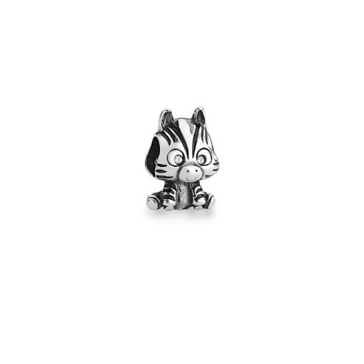 Berloque de Zebra Esmaltado e Zircônias Prata Envelhecida