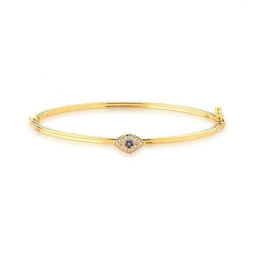 Bracelete com Pingente de Olho Grego Azul Banhado a Ouro