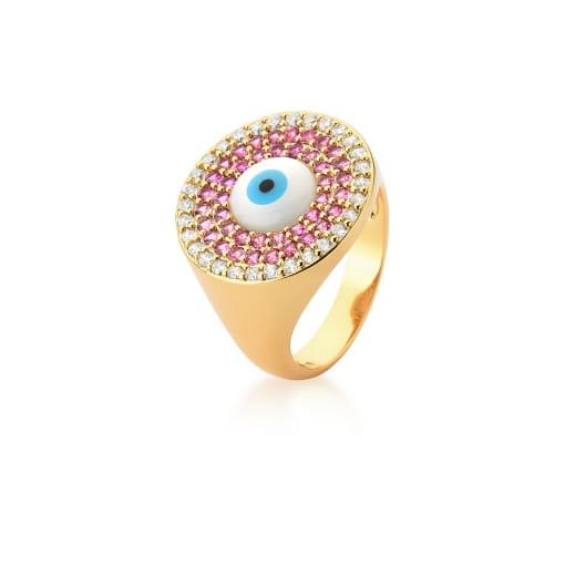 Anel de Olho Grego com Zircônias Rosas Banhado a Ouro