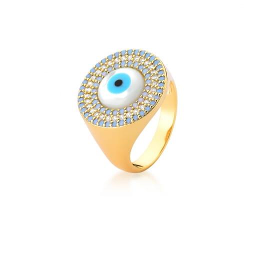 Anel de Olho Grego com Zircônias Azul Cintilante Banhado a Ouro