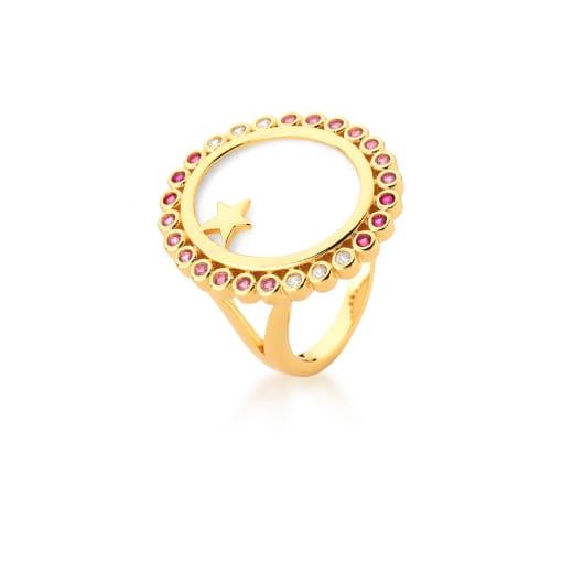 Anel Oval em Madrepérola com Zircônias Rosas Banhado a Ouro