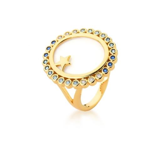 Anel Oval em Madrepérola com Zircônias Azuis Banhado a Ouro