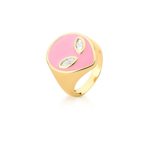 Anel com Imagem de Alienígena Esmaltado Rosa Banhado a Ouro