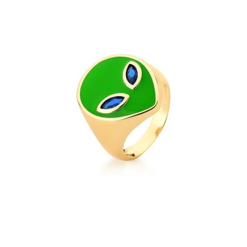 Anel com Imagem de Alienígena Esmaltado Verde Banhado a Ouro