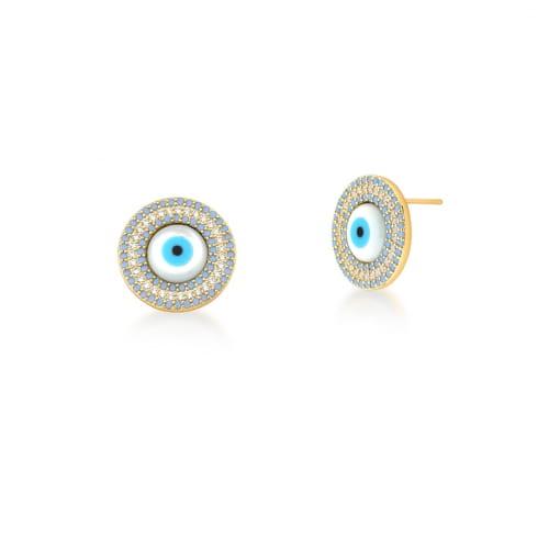 Brinco Olho Grego com Zircônias Azul Cintilante Banhado a Ouro