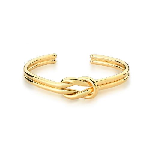 Bracelete Aberto Duas Voltas Trançado e Liso Banhado a Ouro