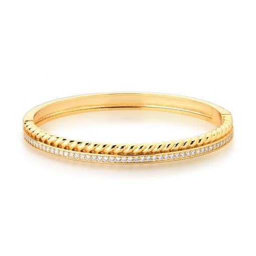 Bracelete Duas Voltas Trançado e Cravejado Branco Banhado a Ouro