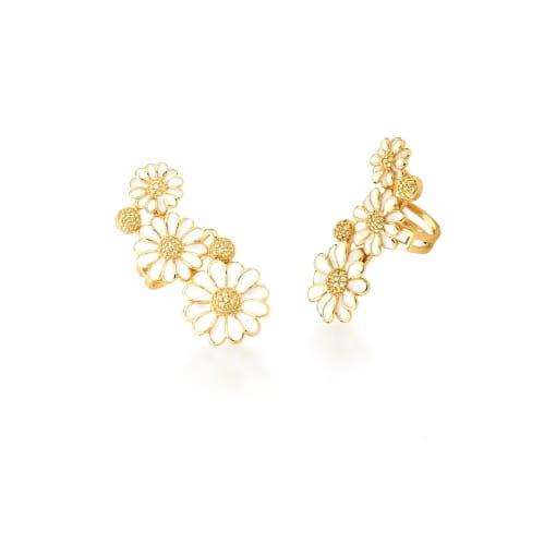 Piercing de Orelha com Flores Esmaltadas Brancas Banhado a Ouro