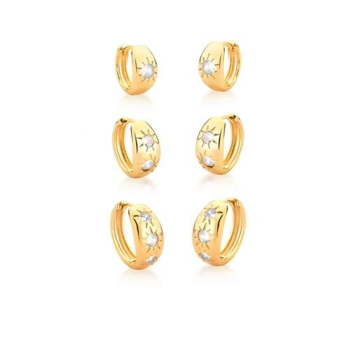 Kit Três Pares de Argolas com Estrelas Brancas Banhado a Ouro