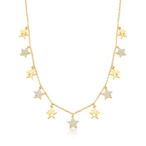 Choker com Pingentes de Estrelas Brancas Banhada a Ouro
