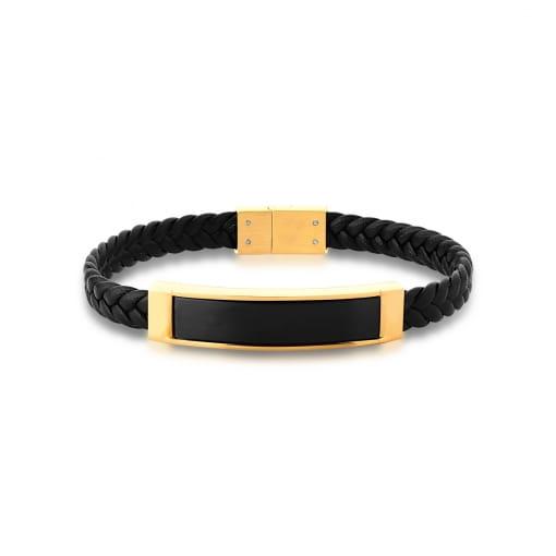 Pulseira com Courino Preto Trançado Placa Negra em Aço Dourado