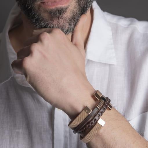 Bracelete Aberto Trabalhado Liso em Aço Rosê