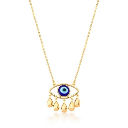 Corrente com Pingente de Olho Grego Azul Escuro Banhada a Ouro