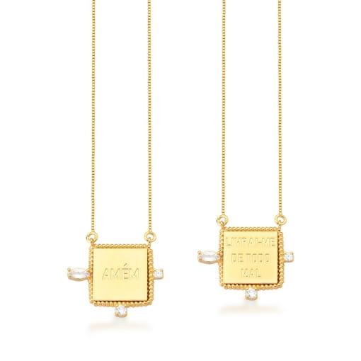 Escapulário com Pingentes Quadrado e Escritas Banhado a Ouro