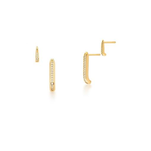 Brinco Duplo Ear Hook Palitos Cravejados Banhado a Ouro