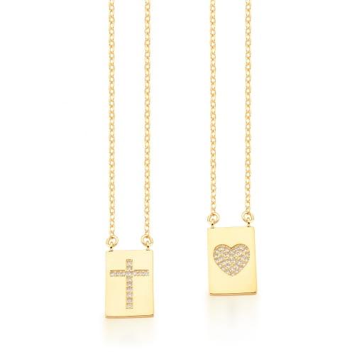 Escapulário com Pingentes de Coração e Cruz Banhada a Ouro
