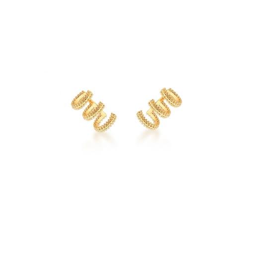 Piercing de Orelha Três Voltas Liso Banhado a Ouro