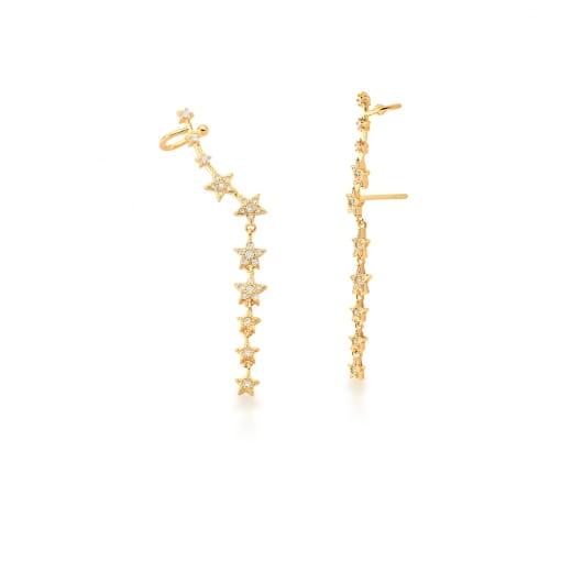 Brinco Ear Cuff de Estrelas com Zircônias Brancas Banhado a Ouro