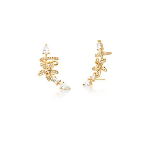 Brinco Ear Cuff de Flor com Cristais Brancos Banhado a Ouro