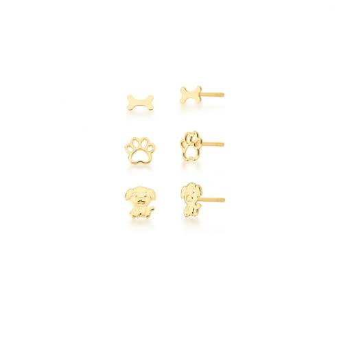 Kit Três Pares de Brincos Diversos Lisos Banhado a Ouro