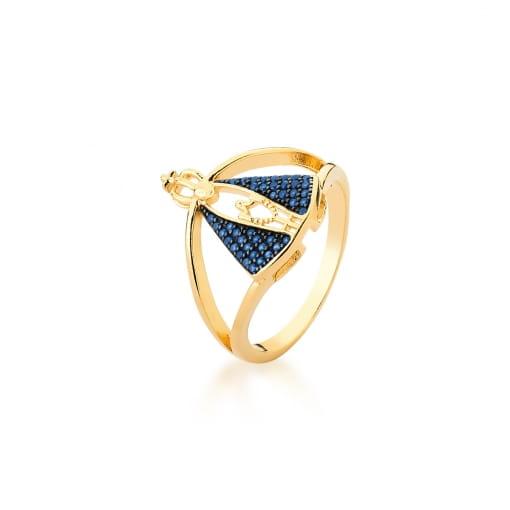 Anel com Imagem Nossa Senhora Aparecida Azul Banhado a Ouro