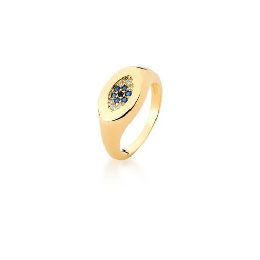 Anel Dedo Mínimo Olho Grego e Zircônias Safira Banhado a Ouro