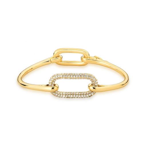 Bracelete com Elos Retangular Cravejado Branco Banhado a Ouro