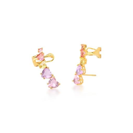 Brinco Ear Cuff Cristais de Corações Rosas Banhado a Ouro