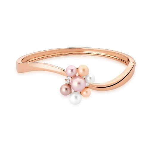 Bracelete Curvo com Pérolas em Quatro Tons Banhado a Ouro Rosê