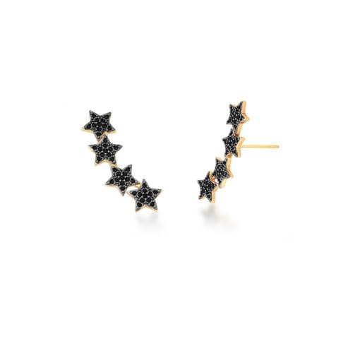 Brinco Ear Cuff com Estrelas Negras Banhado a Ouro