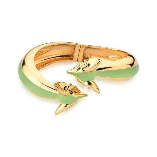 Bracelete Aberto com Raposas Esmaltado Verde Banhado a Ouro
