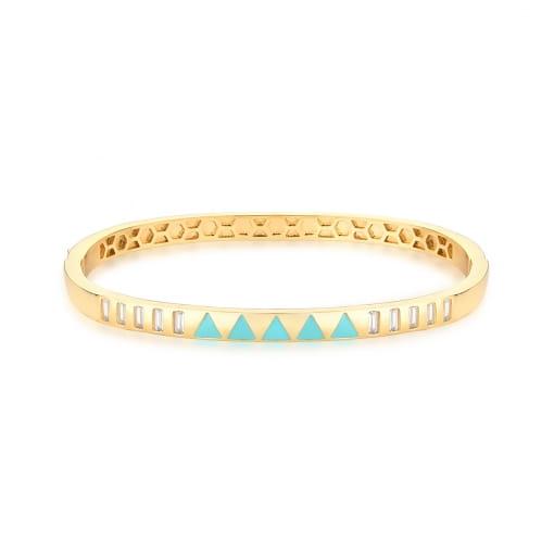 Bracelete Esmaltado Azul e Zircônias Baguetes Banhado a Ouro