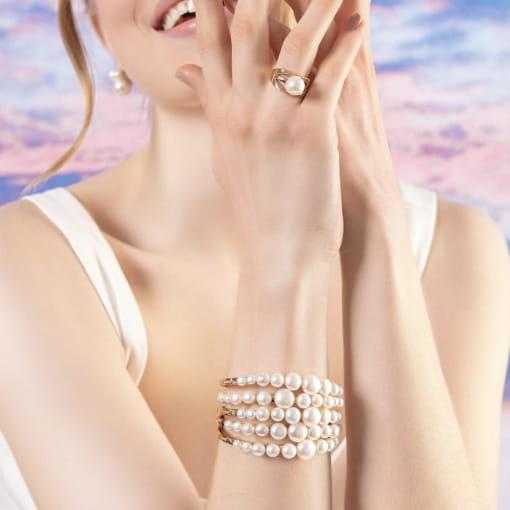 Bracelete com Pérolas Achatadas Banhado a Ouro
