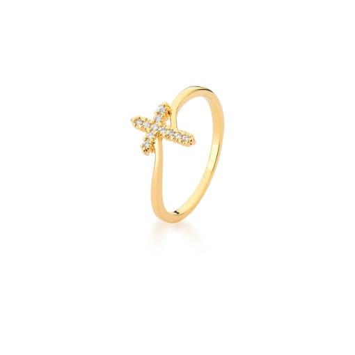 Anel com Cruz Cravejada de Zircônias Brancas Banhado a Ouro