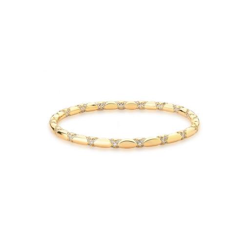 """Bracelete Cravejado em ''X"""" com Zircônias Brancas Banhado a Ouro"""
