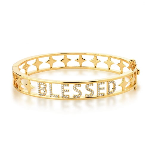 """Bracelete com Escrita """"Blessed"""" Branco Banhado a Ouro"""