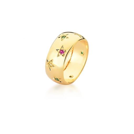 Anel com Estrelas e Zircônias Coloridas Banhado a Ouro