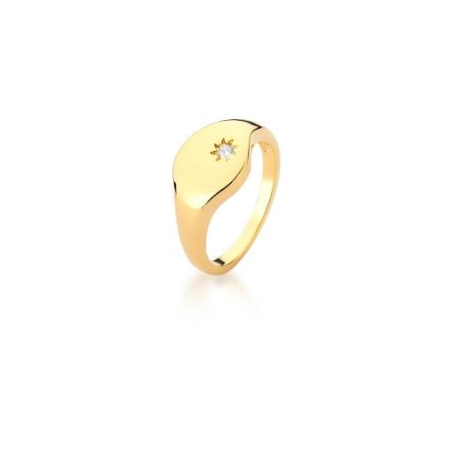 Anel Dedo Mínimo com Estrela Branco Banhado a Ouro