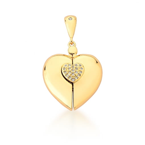 Pingente Relicário de Coração Menino Banhado a Ouro
