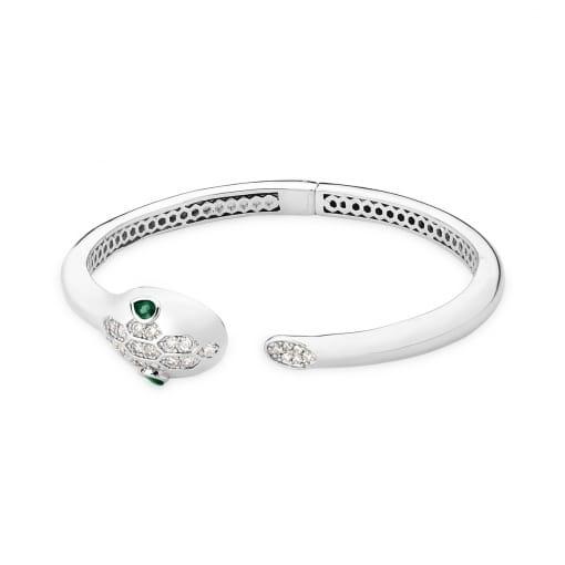 Bracelete Aberto de Cobra com Zircônias Brancas Banhado a Ródio